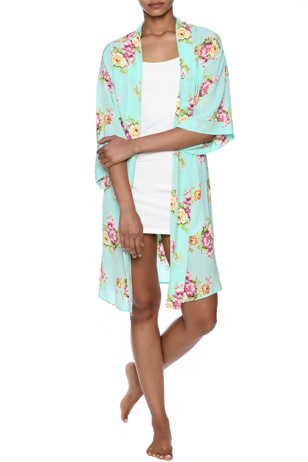 Coveted Clothing Peony Print Robe - Front Full Image