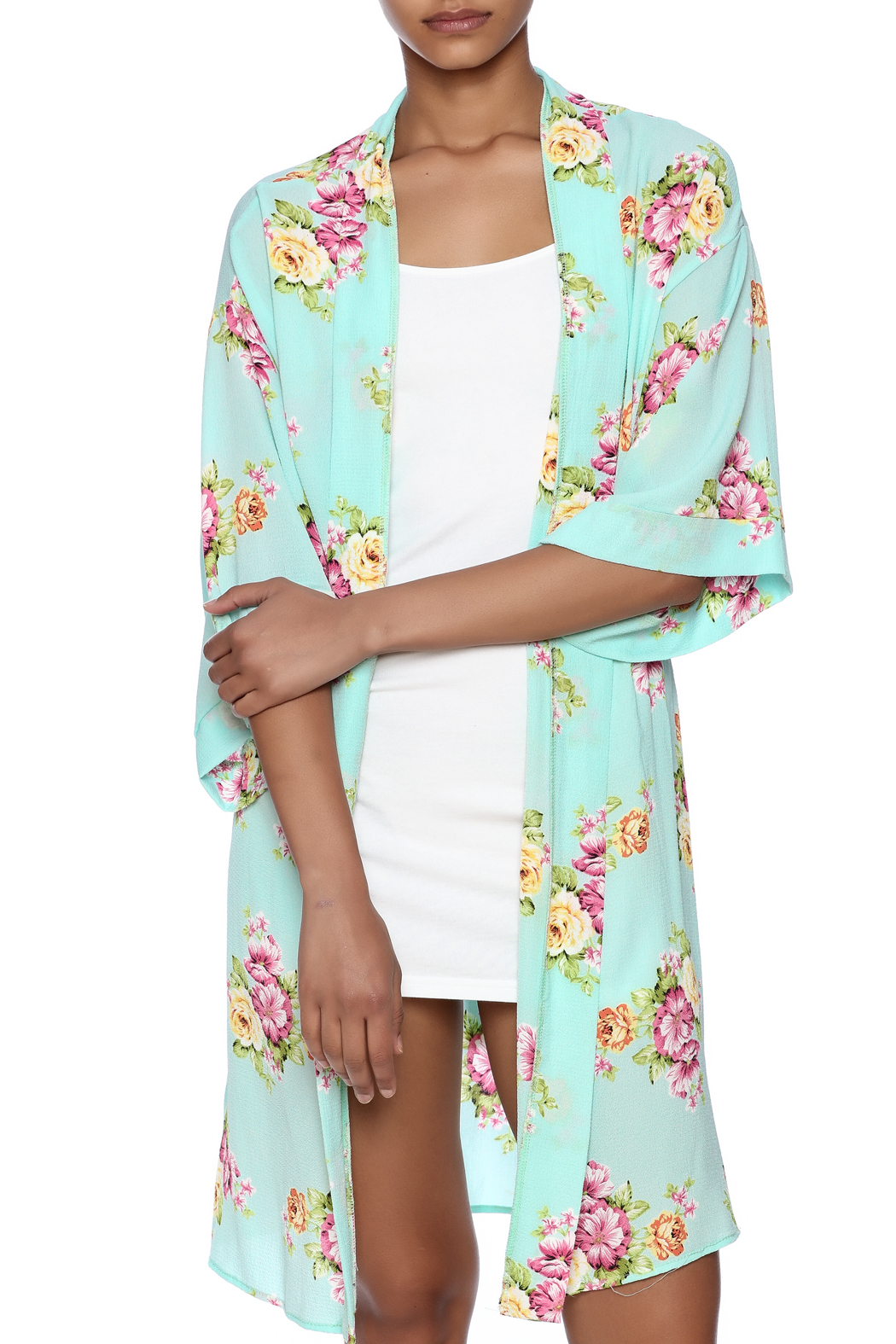 Coveted Clothing Peony Print Robe - Front Cropped Image