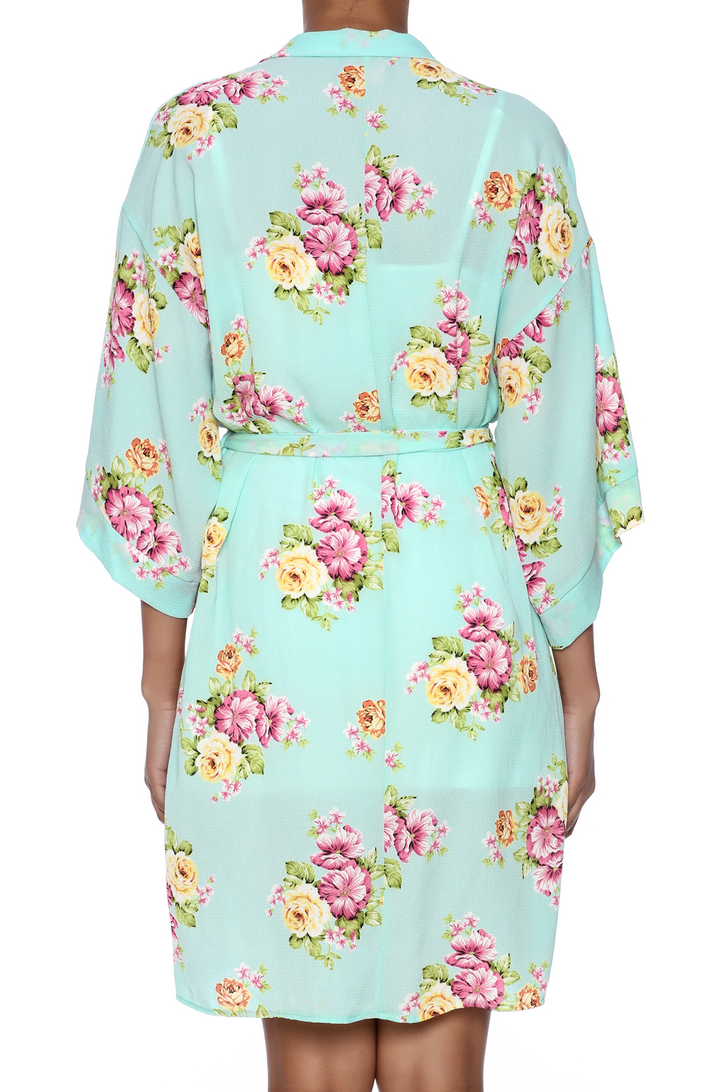 Coveted Clothing Peony Print Robe - Back Cropped Image
