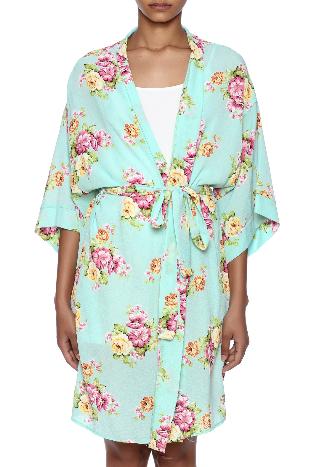 Coveted Clothing Peony Print Robe - Side Cropped Image