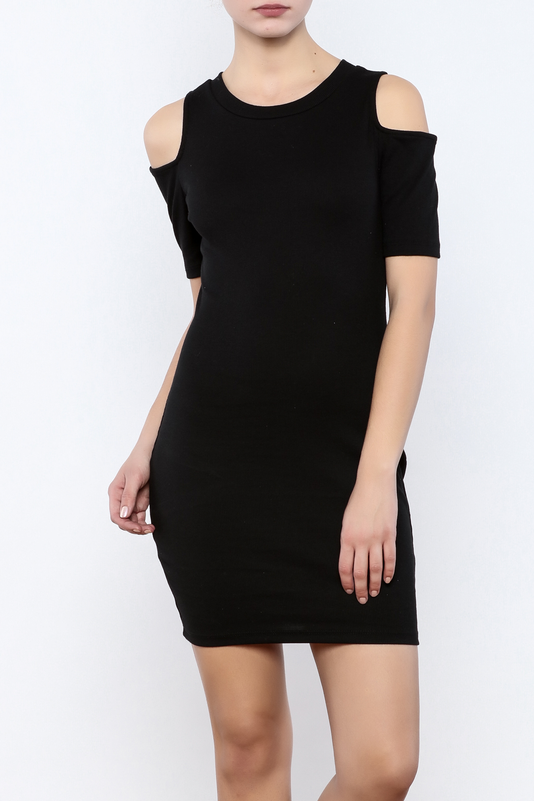Coveted Clothing Ribbed Cold Shoulder - Main Image