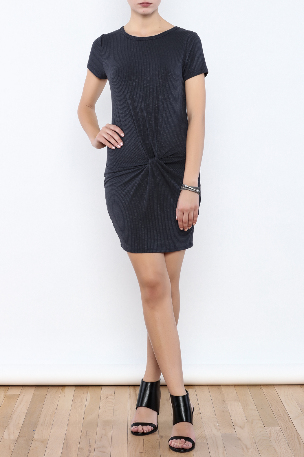 Coveted Clothing Ribbed Knotted Dress - Front Full Image