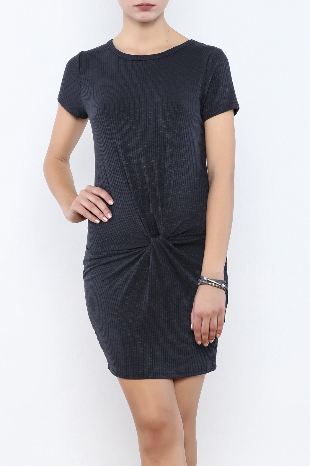 Coveted Clothing Ribbed Knotted Dress - Front Cropped Image