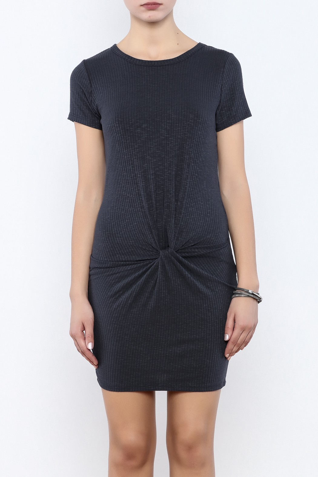 Coveted Clothing Ribbed Knotted Dress - Side Cropped Image