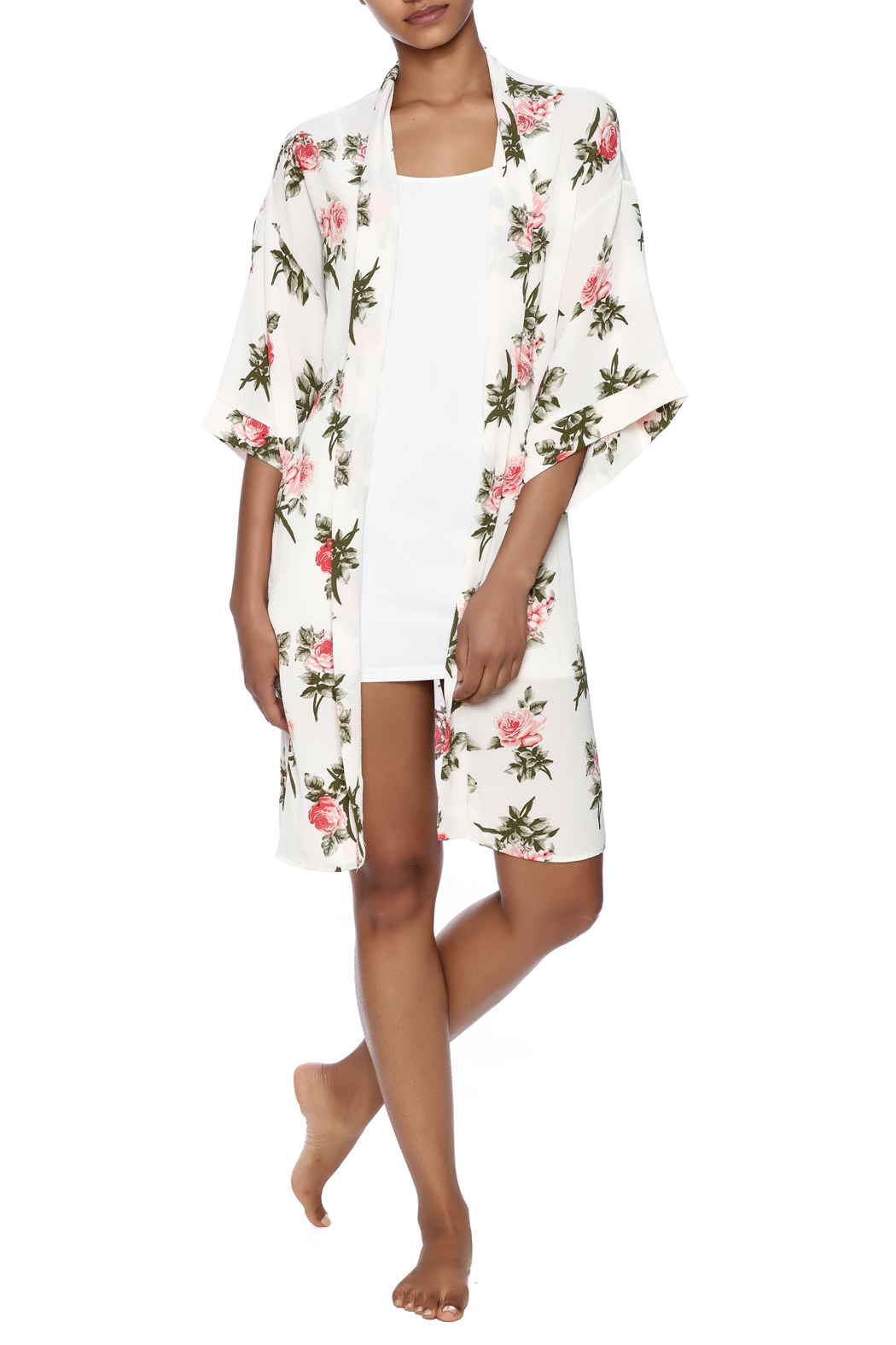 Coveted Clothing Rose Print Robe - Front Full Image