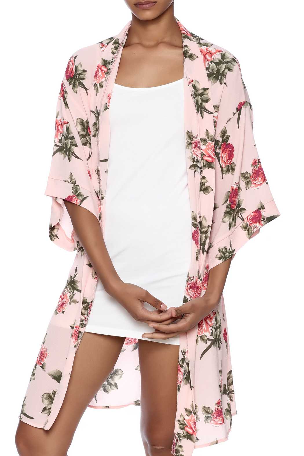 Coveted Clothing Rose Print Robe - Front Cropped Image