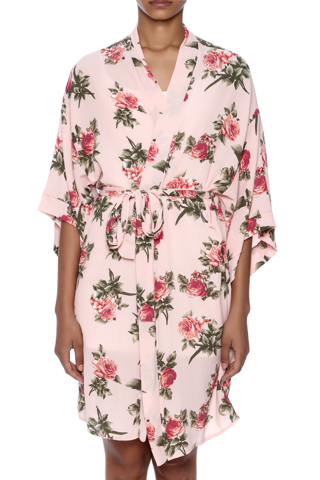 Coveted Clothing Rose Print Robe - Side Cropped Image