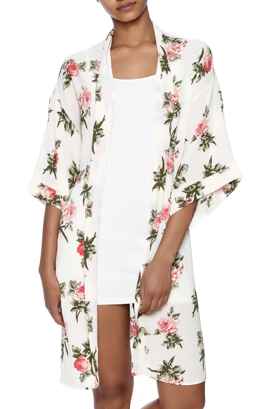 Coveted Clothing Rose Print Robe - Main Image