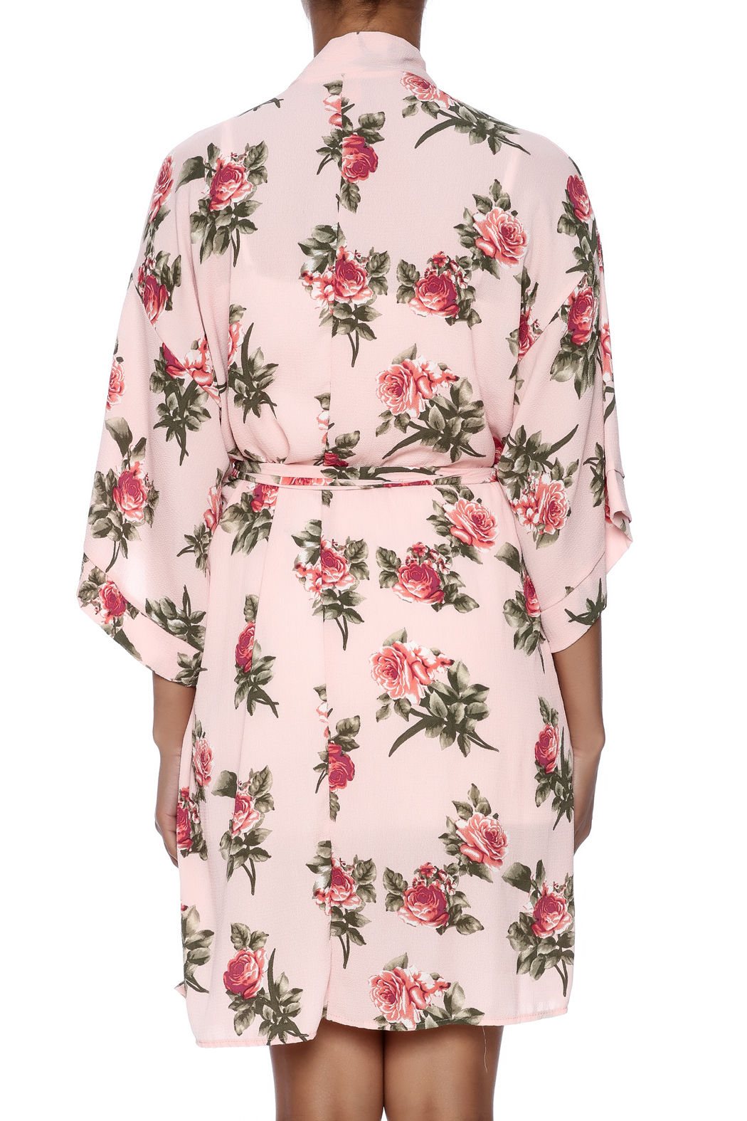 Coveted Clothing Rose Print Robe - Back Cropped Image