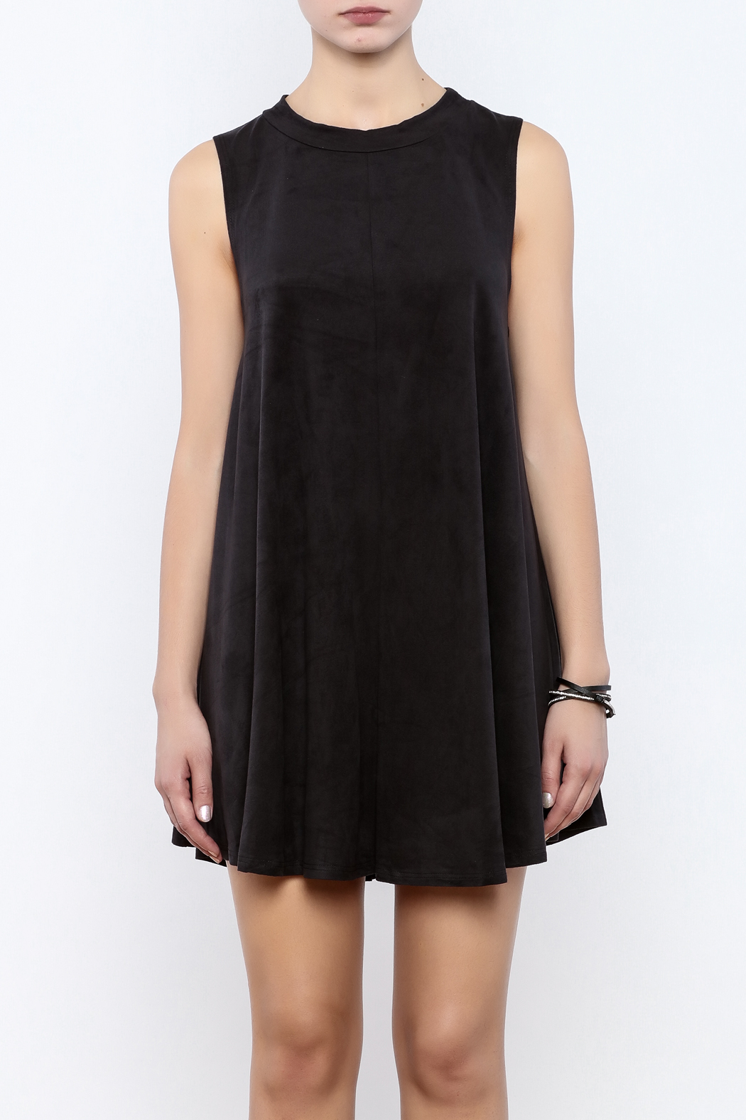 Coveted Clothing Faux Suede Tank Dress - Side Cropped Image