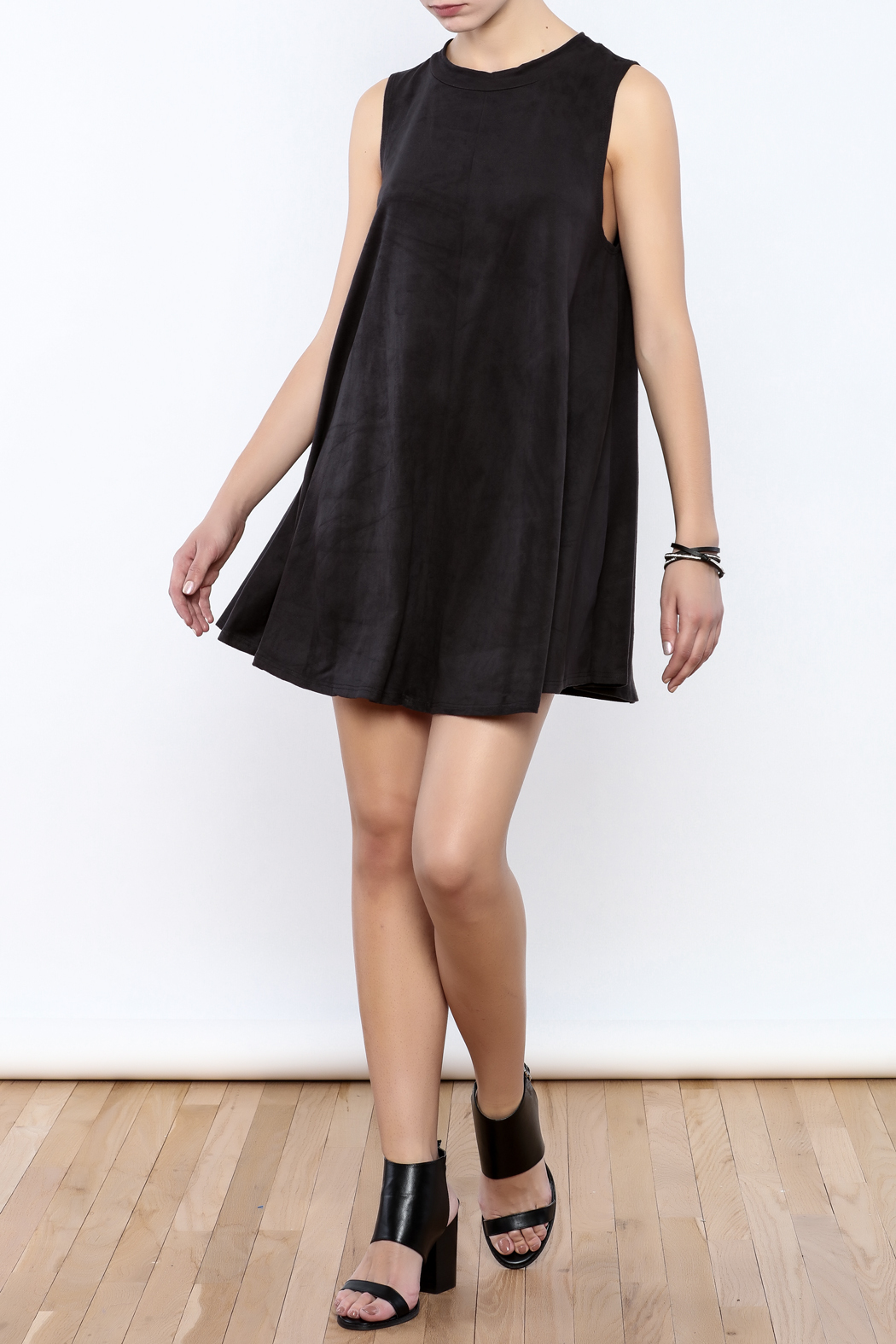 Coveted Clothing Faux Suede Tank Dress - Front Full Image