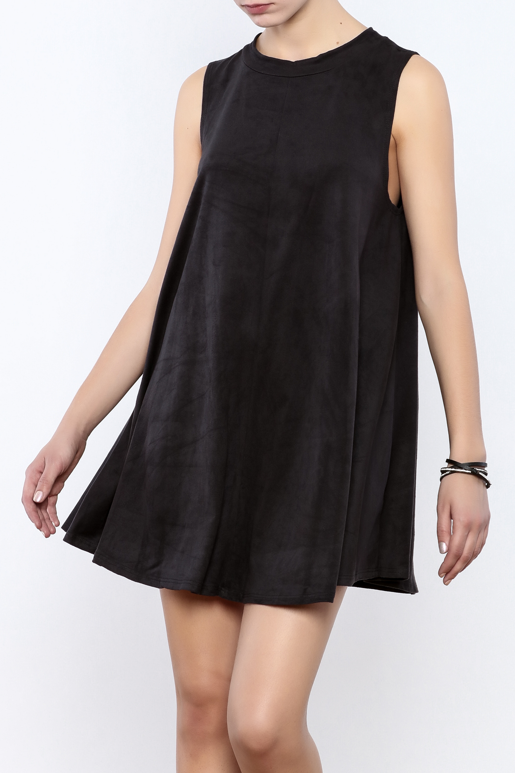 Coveted Clothing Faux Suede Tank Dress - Front Cropped Image