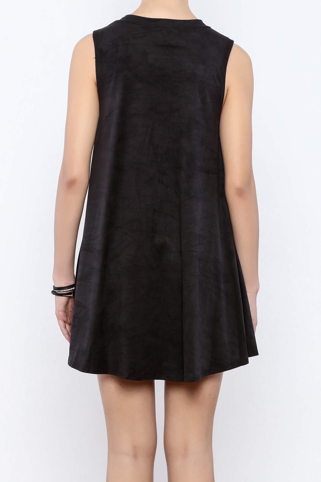 Coveted Clothing Faux Suede Tank Dress - Back Cropped Image