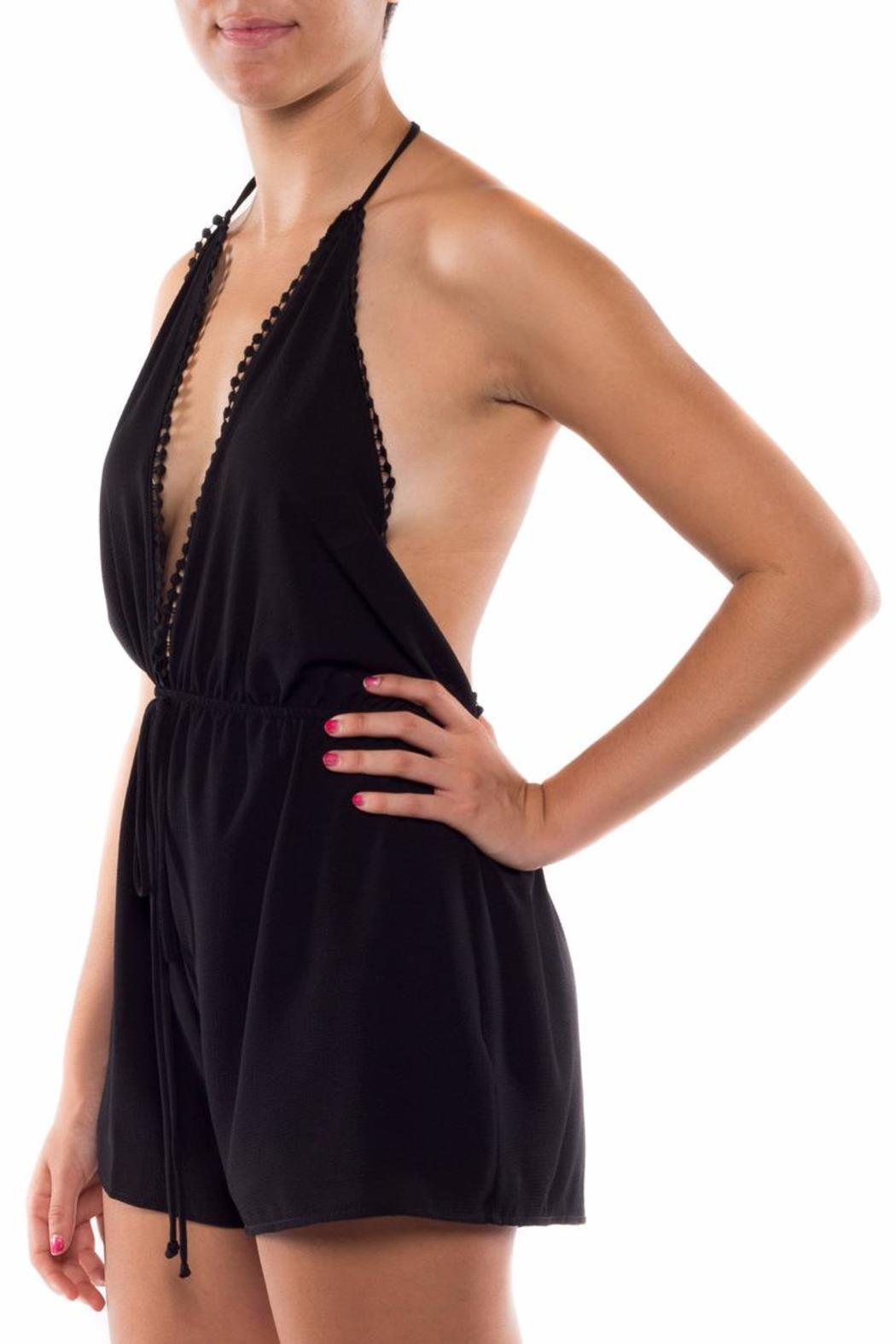 Coveted Clothing V Neck Halter Romper - Front Full Image