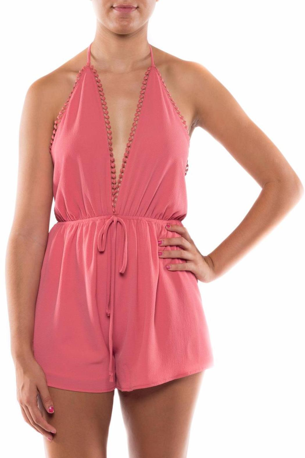 Coveted Clothing V Neck Halter Romper - Main Image
