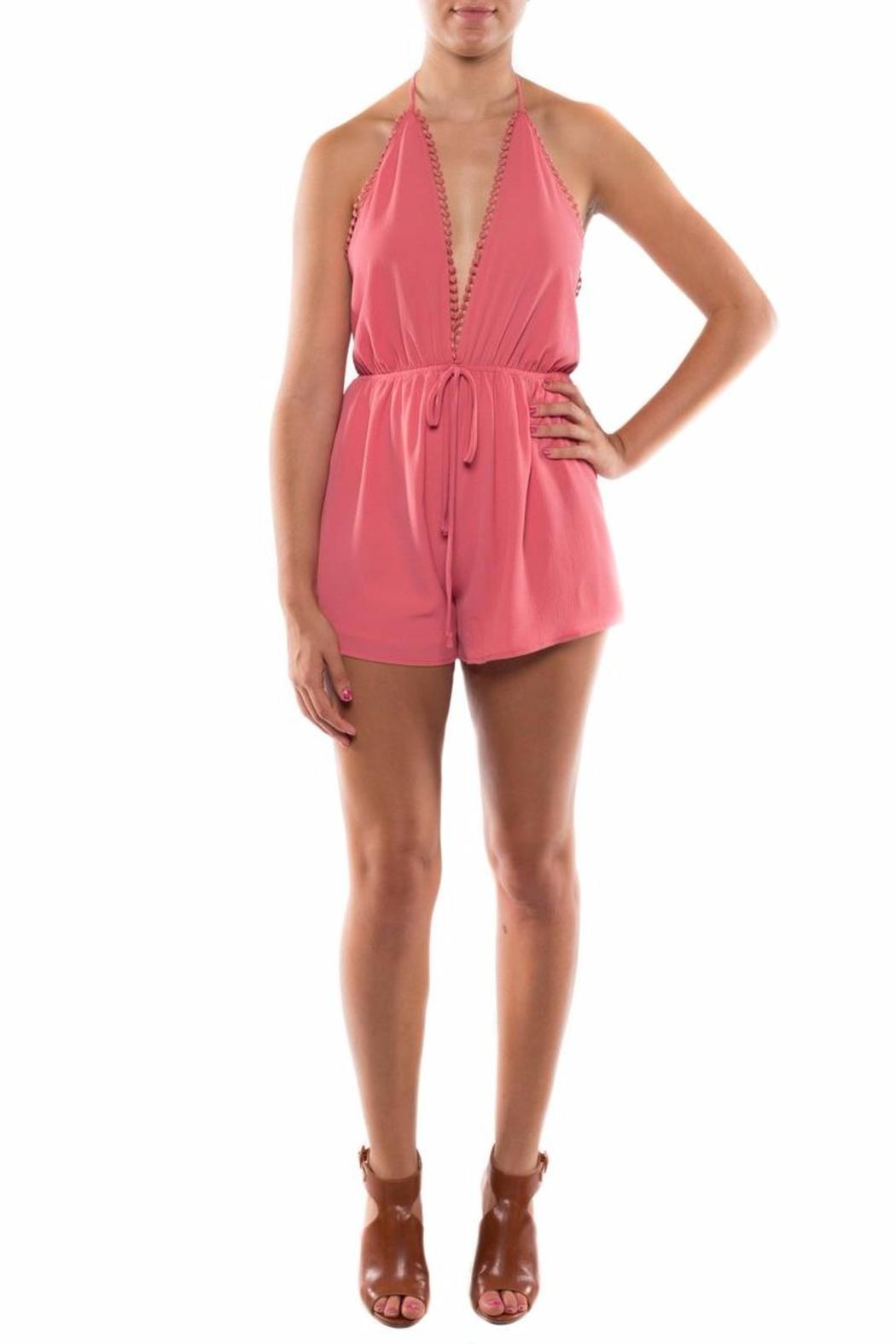 Coveted Clothing V Neck Halter Romper - Back Cropped Image