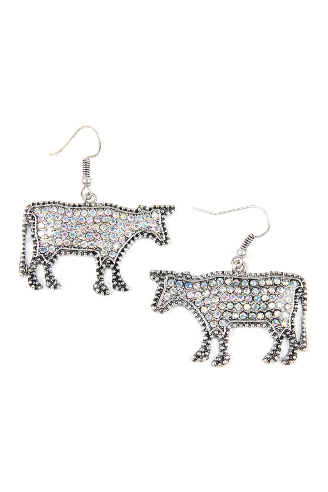 Riah Fashion Cow-Rhinestone Drop-Earrings - Front Cropped Image
