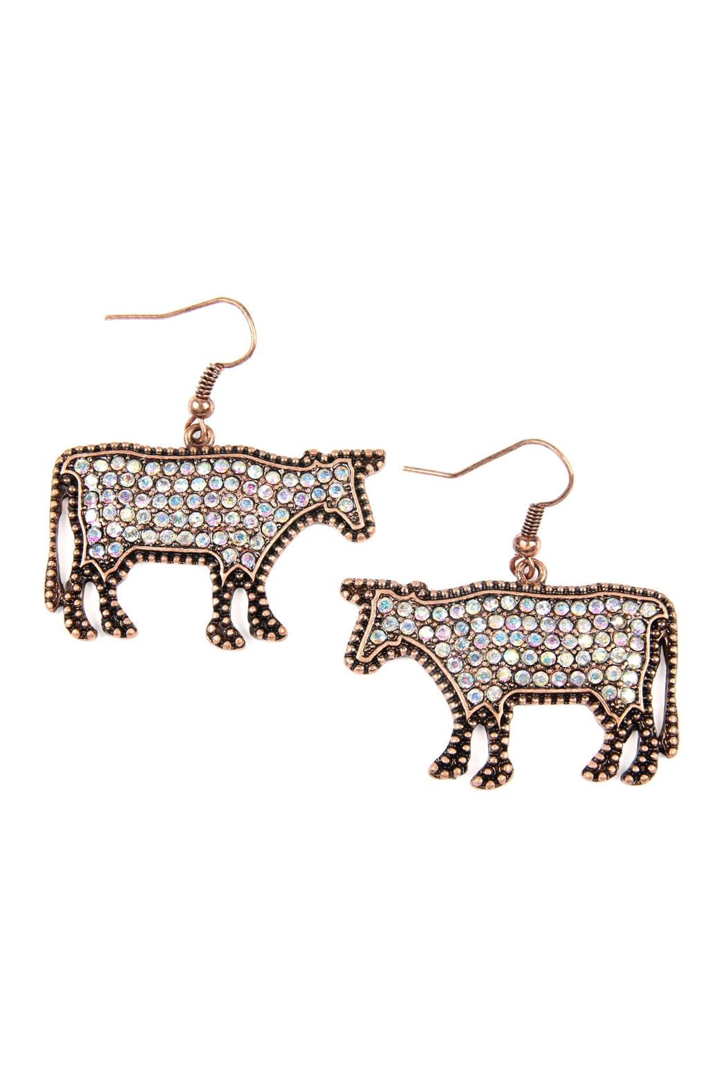 Riah Fashion Cow-Rhinestone Drop-Earrings - Main Image