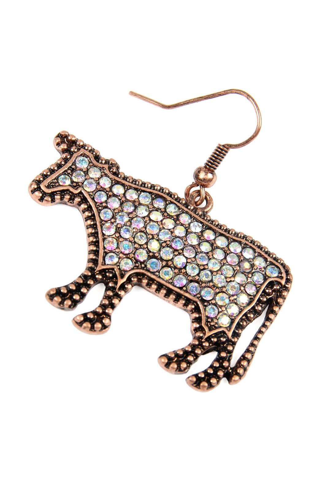 Riah Fashion Cow-Rhinestone Drop-Earrings - Front Full Image