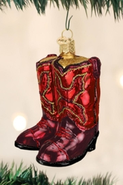 Old World Christmas Cowboy Boots Ornament - Front cropped
