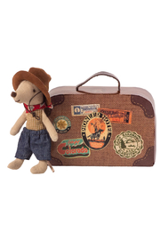 Maileg Cowboy Mouse In Suitcase - Front full body