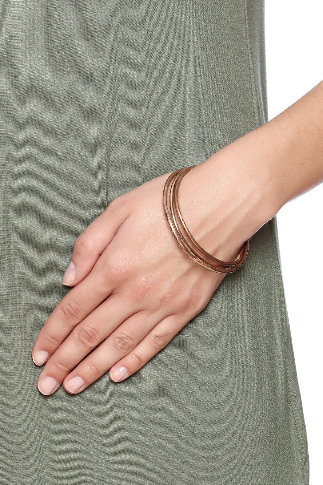 Cowgirl Chile Co. Jewelry Trois Bronze Bangles - Back Cropped Image