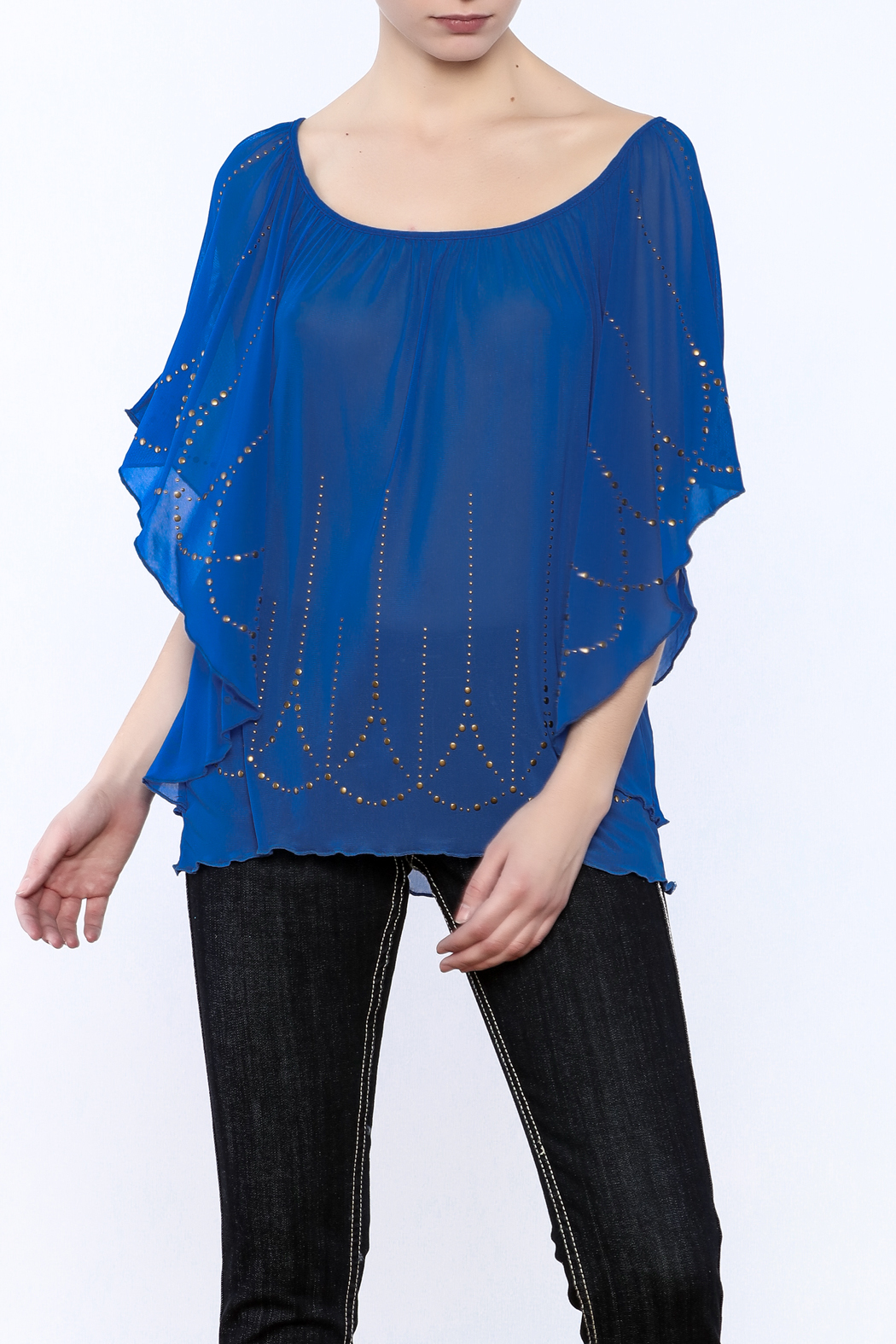 Cowgirl Tuff Blue Studded Blouse - Main Image
