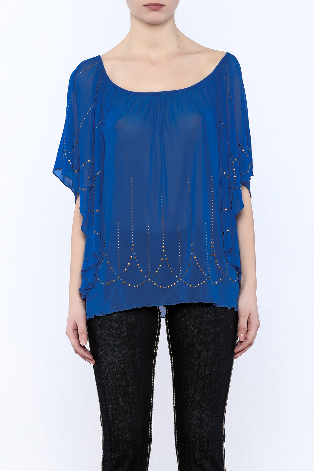 Cowgirl Tuff Blue Studded Blouse - Side Cropped Image