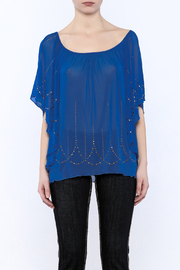 Cowgirl Tuff Blue Studded Blouse - Side cropped