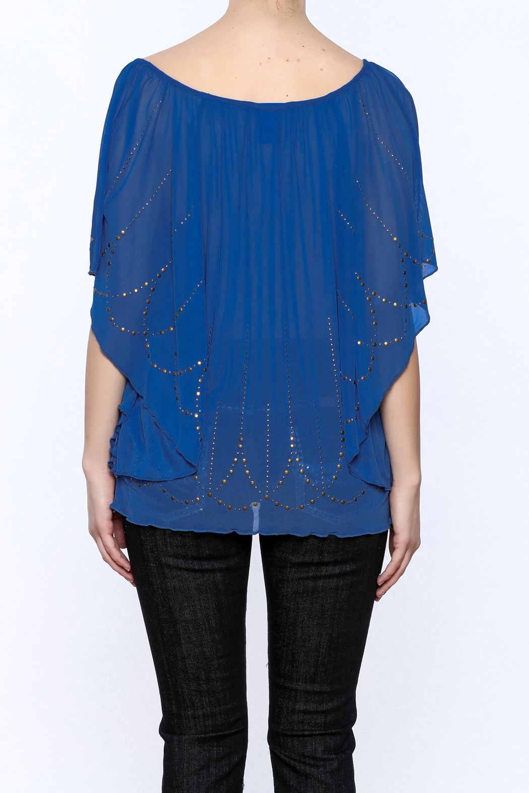 Cowgirl Tuff Blue Studded Blouse - Back Cropped Image
