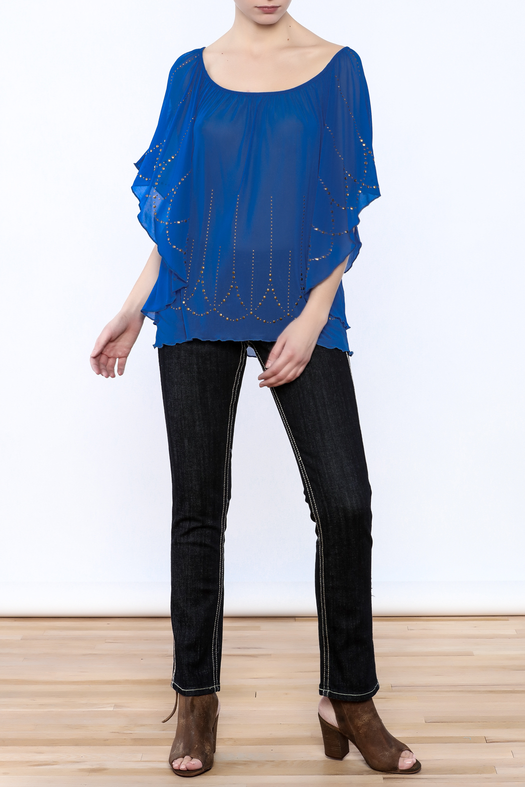 Cowgirl Tuff Blue Studded Blouse - Front Full Image