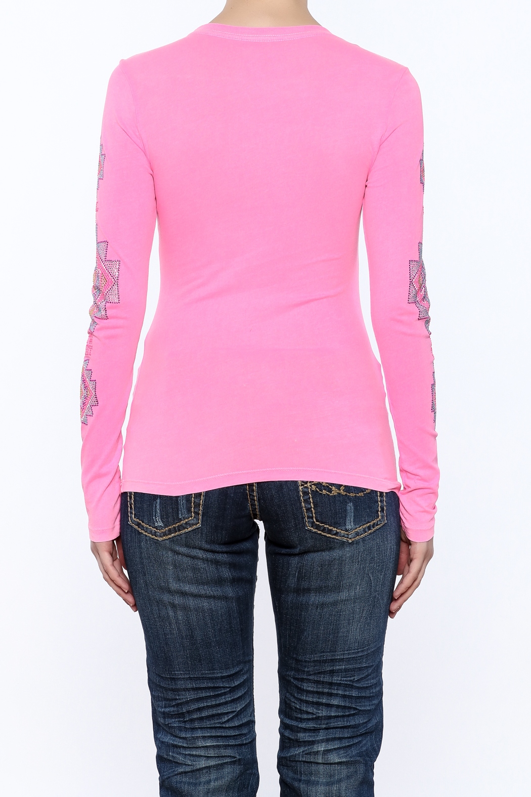 Cowgirl Tuff Junior's Pink Tee - Back Cropped Image