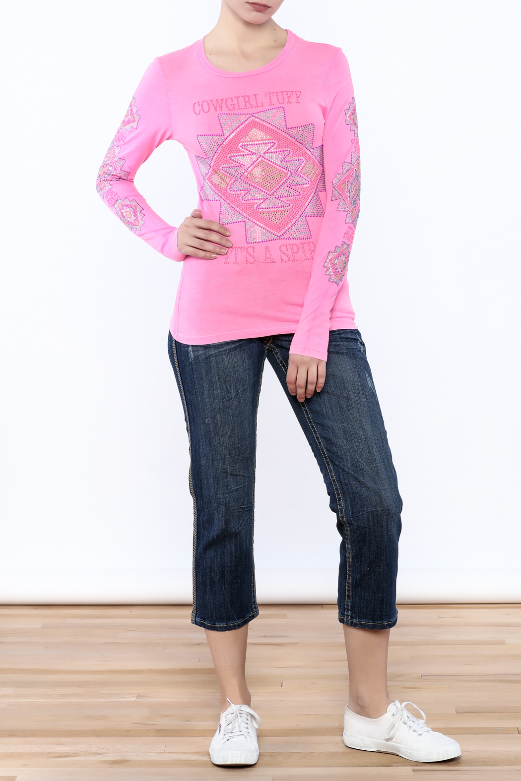 Cowgirl Tuff Junior's Pink Tee - Front Full Image