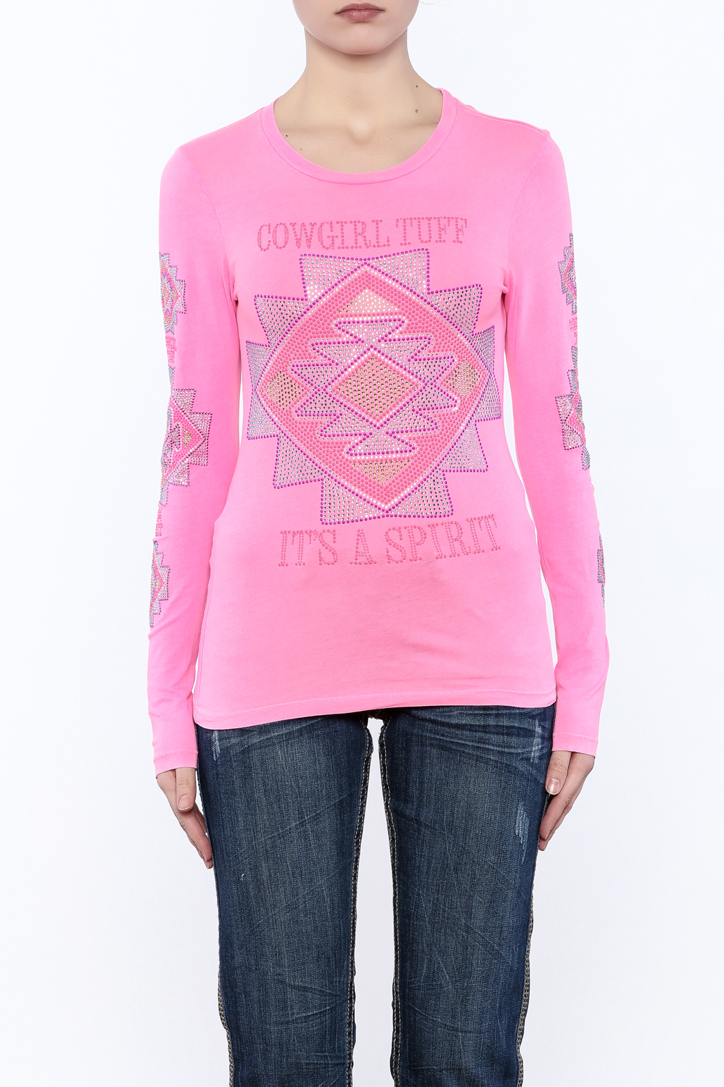 Cowgirl Tuff Junior's Pink Tee - Side Cropped Image