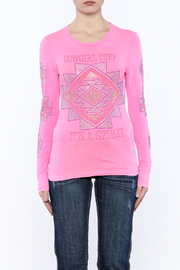Cowgirl Tuff Junior's Pink Tee - Side cropped