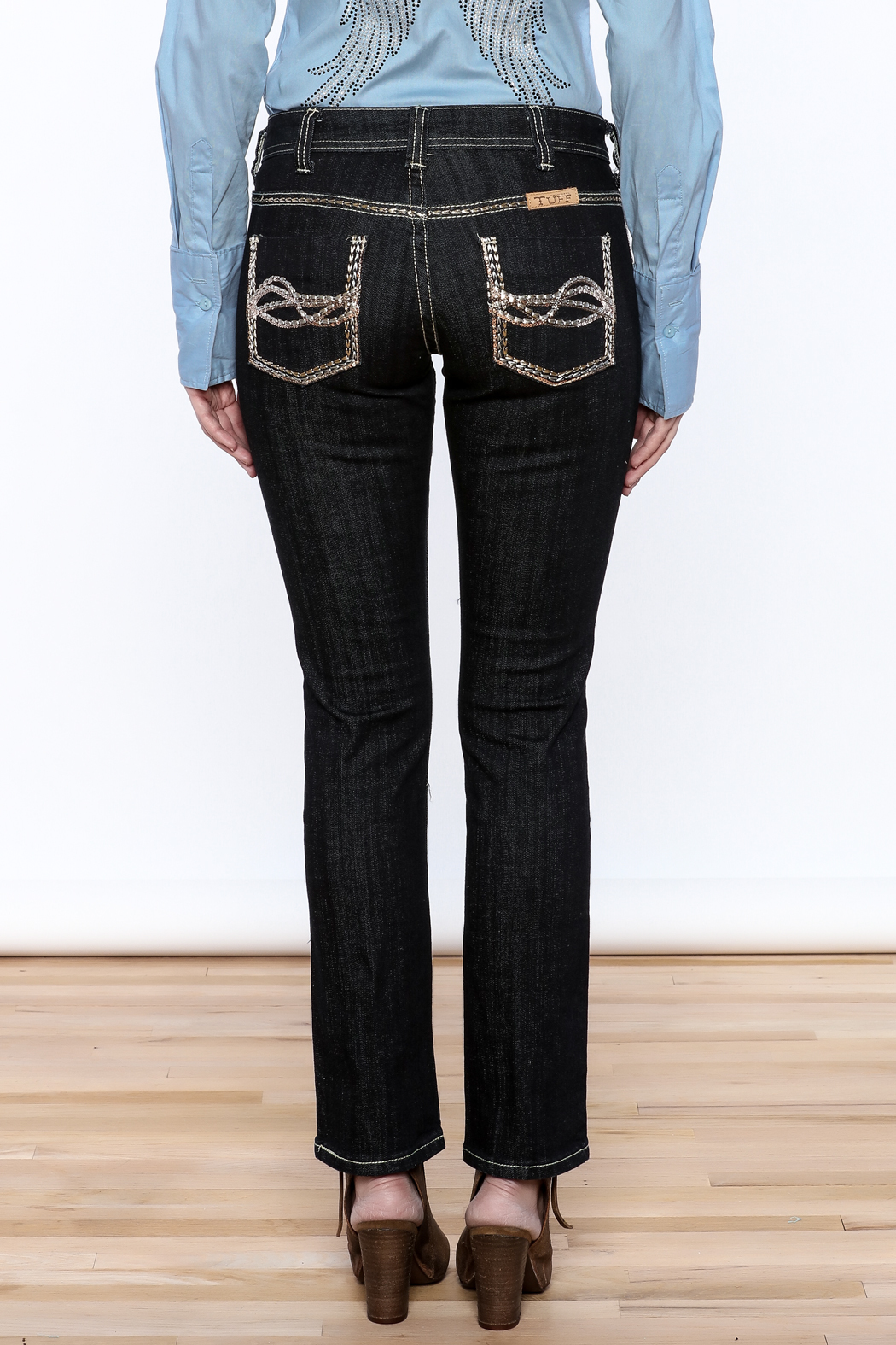 Cowgirl Tuff Straight Golden Jeans - Back Cropped Image