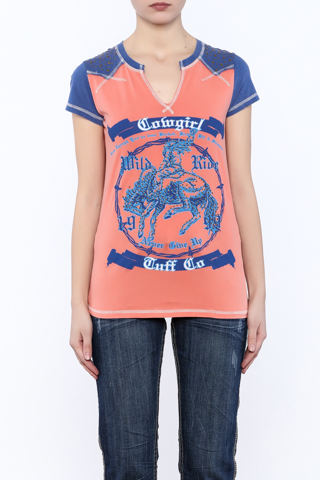 Cowgirl Tuff Wild Ride Tee - Side Cropped Image