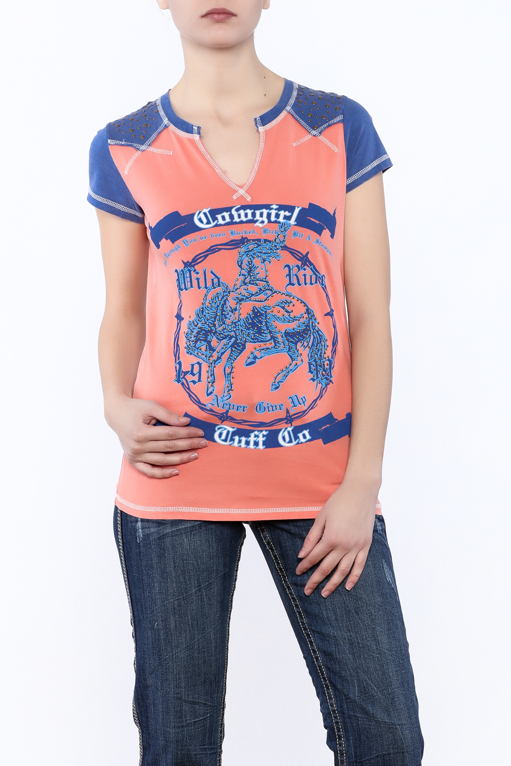 Cowgirl Tuff Wild Ride Tee - Front Cropped Image