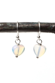 Cowgirl Chile Co. Jewelry Moonstone Heart Earrings - Front cropped