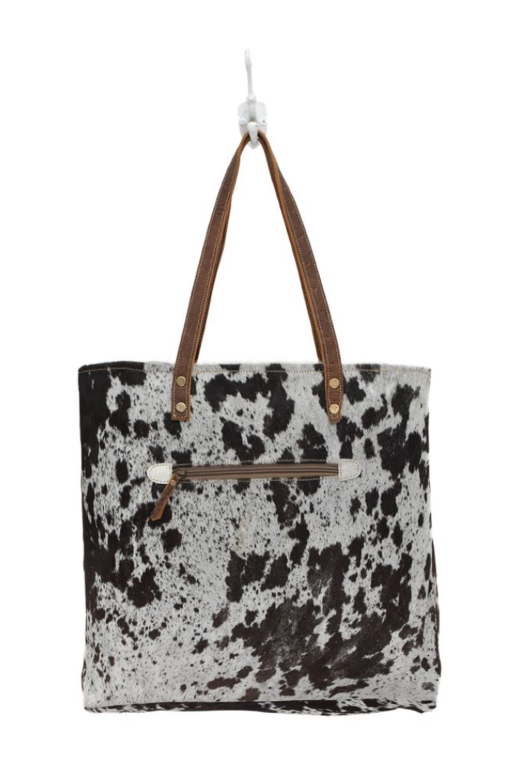 Myra bag  Cowhide Leather Front Pocked Tote Bag - Front Full Image