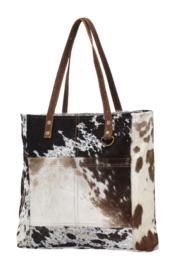 Myra bag  Cowhide Leather Front Pocked Tote Bag - Side cropped