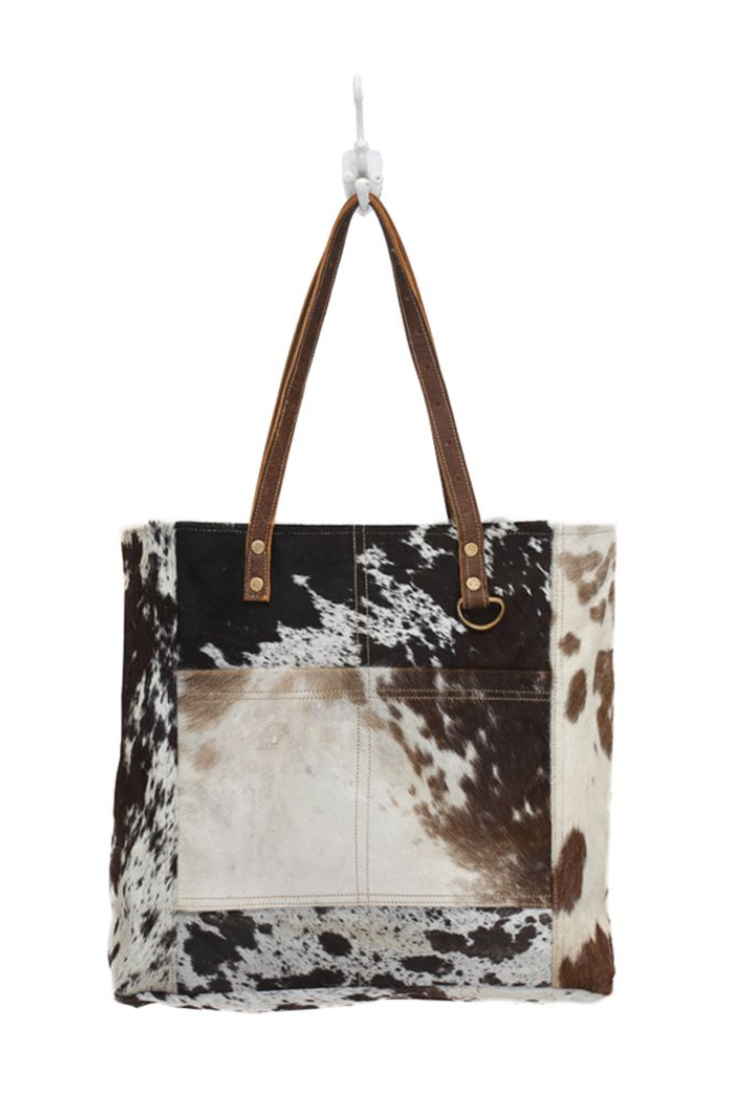 Myra bag  Cowhide Leather Front Pocked Tote Bag - Main Image