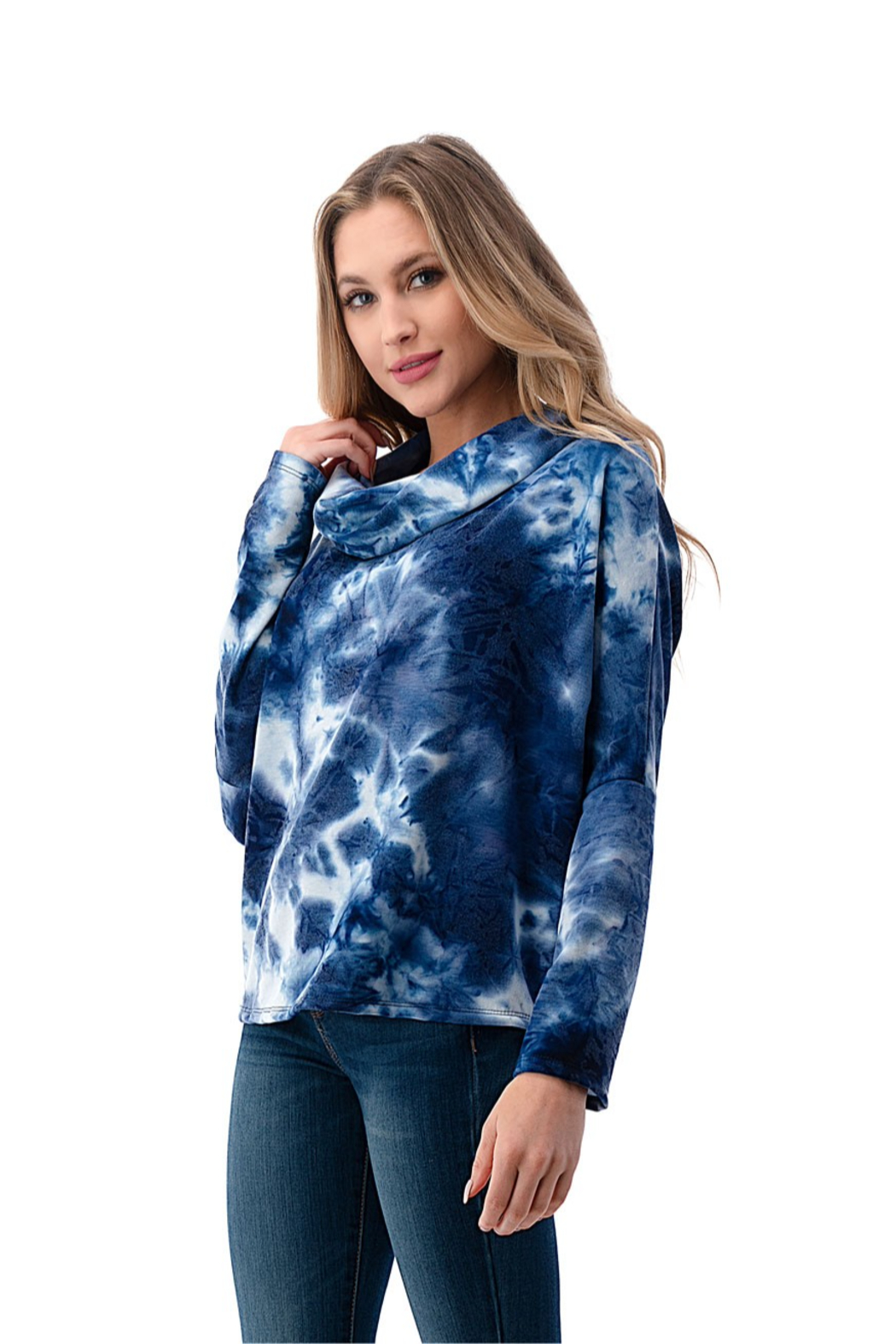 Ariella USA Cowl neck back lace up tie dye top - Side Cropped Image