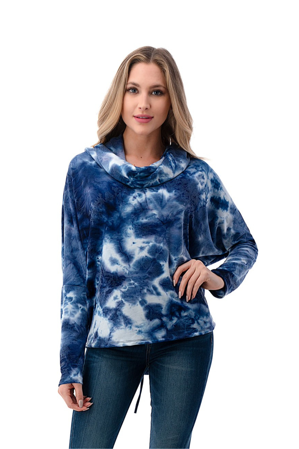 Ariella USA Cowl neck back lace up tie dye top - Main Image