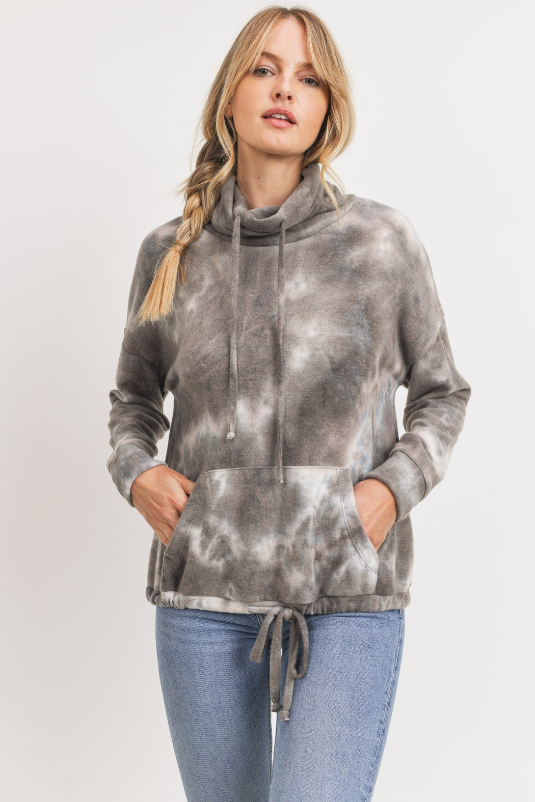 Cherish Cowl Neck Brushed Knit Tie Dye Pullover - Main Image