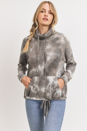 Cherish Cowl Neck Brushed Knit Tie Dye Pullover - Front cropped