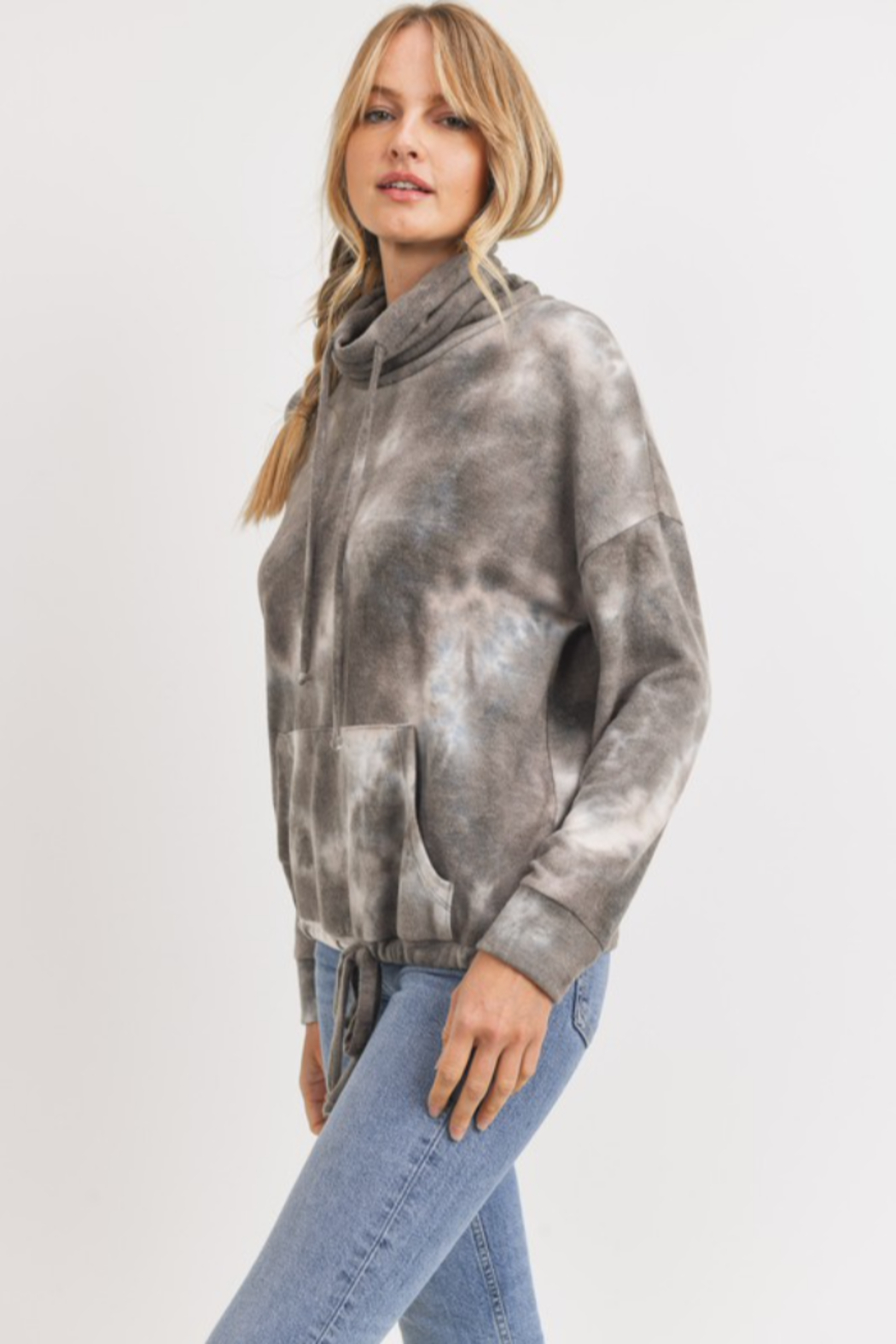 Cherish Cowl Neck Brushed Knit Tie Dye Pullover - Front Full Image