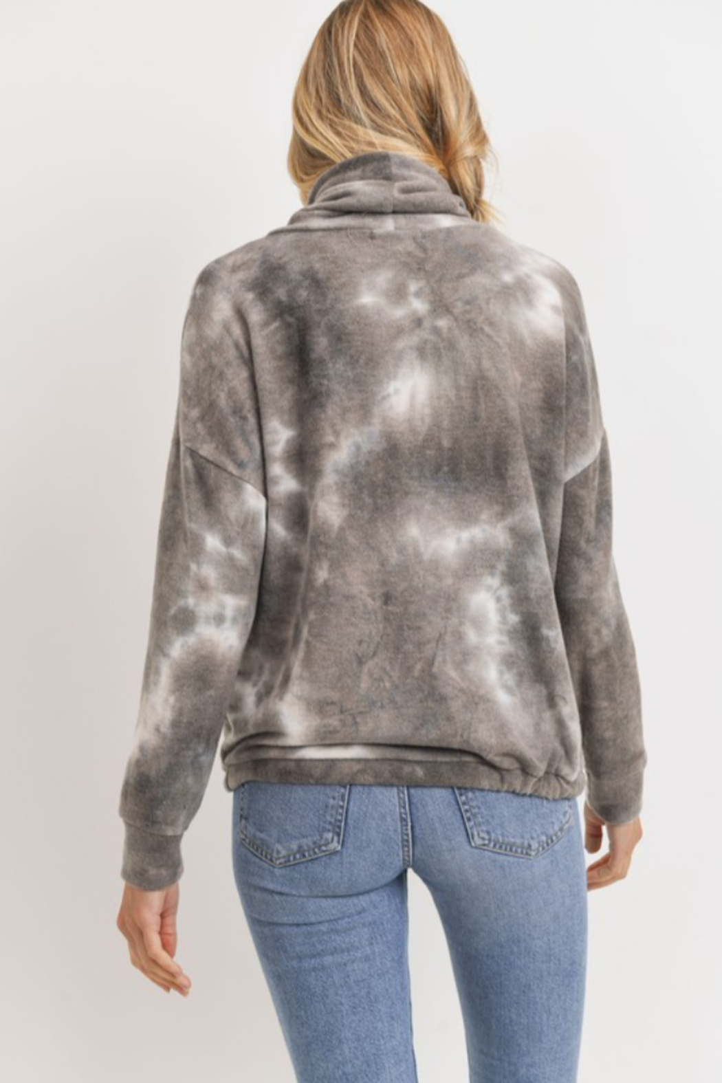 Cherish Cowl Neck Brushed Knit Tie Dye Pullover - Side Cropped Image