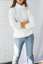Hem & Thread Cowl-Neck Cable-Knit Sweater - Product Mini Image