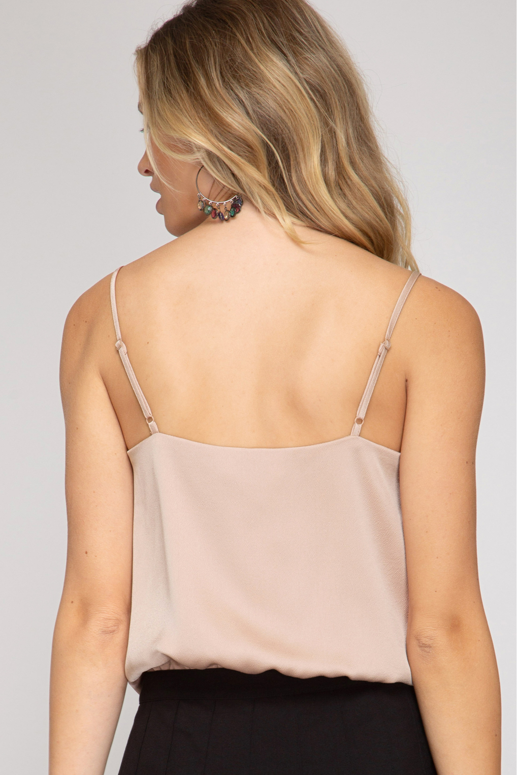 She and Sky Cowl Neck Cami Bodysuit - Front Full Image
